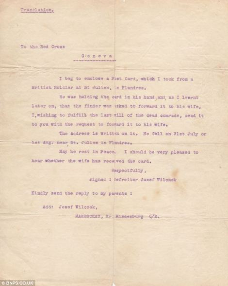 A translation of the letter sent by Gefreieter Josef Wilczek to the Red Cross.