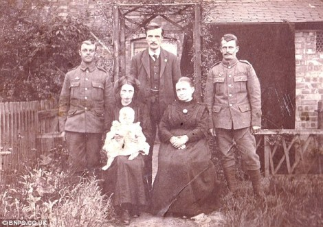 Photograph taken on the same occasion as the one returned by the German soldier. (Back row, left to right) unknown, Percy Buck, brother Ted Buck (front row) Bertha with son Cyril and Bertha's mother Mrs Stevens.
