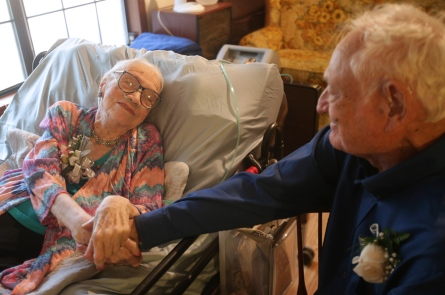 "Wayne and Elaine Walker celebrated the 75th wedding anniversary Saturday. Elaine said she wasn't sure about getting married, but Wayne won her over. ""He's the only man I've ever loved. He prays for me 17 times a day,"" she said."