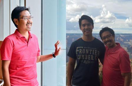(右图)郑伟全(左)把一个肾脏捐给哥哥郑伟胜后,生活与从前没两样,目前在美国从事音乐工作。(受访者提供)