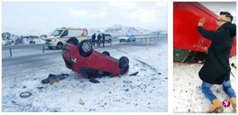 """冰岛公路发生意外,汽车在冰天雪地中疑打滑翻覆四轮朝天,狮城男目睹一幕,助女司机脱困。 近日一段约一分半钟的视频在网上广传,数名男子在一条铺满积雪的公路上,朝一辆红色汽车跑去,并将受困在车中的女子救出。 视频显示,汽车当时四轮朝天,四周还有散落在地上的碎片,左前方车窗的玻璃似乎已掉落,一只手伸到了车外。 一名身穿黑色大衣的年轻男子率先跑到车前,并挥手呼唤同伴赶快上前。众人尝试打开两边的车门后,合力将一名女子从前座救出车外。 据在个人面簿上载了该视频的网友邓达(音译)表示,车子是在公路上遇到意外,庆幸女子并无大碍。 这名来自新加坡的男子是在本地时间前天凌晨4时许上载视频,一般相信,他与友人当时正在冰岛旅游,驾车经过车祸现场时,马上仗义相助。另一名相信当时也在场的友人事后留言表示,女子获救后,由当地的公众协助通知紧急救援队。 Stomp也上载了这段视频,引来连连赞赏声。据知,视频中的众人均是新加坡人。网民斯瓦留言表示:""""虽然我们来自一个小岛,但他们的所作所为让新加坡感到自豪。"""""""