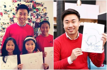 """卓英伟每年都发起慈善义举,免费教小孩子绘画。(取自面簿)右:卓英伟以""""起点,爱""""为理念,设计出卡通人物""""Ai""""。(取自面簿)"""